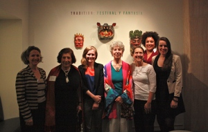 Diego Rivera's daughter Lupe Rivera (second from left) and Nelson Rockefeller's daughter Anne Rockefeller (4th from left) visited the exhibition.