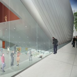 A rendering of the new Berkeley Art Museum which currently in construction