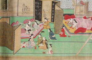A visit to the Yoshiwara, late 1680s, by Hishikawa Moronobu (Japanese, d. 1694). Handscroll; ink, colors, and gold on paper. John C. Weber Collection. Image © John Bigelow Taylor