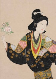 Beauty of the Kanbun era, approx. 1660–1680. Japan. Hanging scroll; ink, colors, and gold on paper. John C. Weber Collection. Image © John Bigelow Taylor.