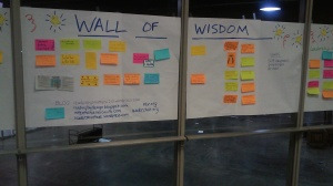 Wall of Wisdom, where conference attendees shared bits of advice and wisdom.