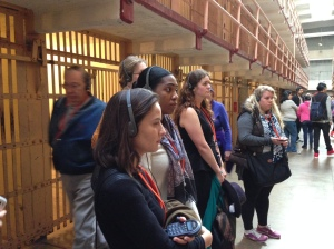 Visiting the Ai Wei Wei exhibition on incarceration at Alcatraz Island in Elizabeth Pena's Museums and Social Justice course