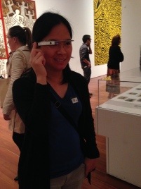 Sabrina tries out the Google Glass tour at the de Young Museum as part of Mandy Smith's Museums & Technology practicum