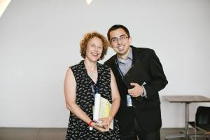 Victor with Museum Studies alumna Elinoar Amigor. Courtesy of The Contemporary Jewish Museum. Photo by Gary Sexton Photography