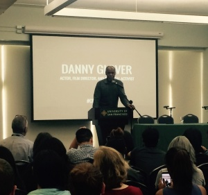 Danny Glover addressing the students.