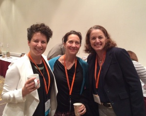 Mimi Blumenfeld, Glori Simmons and Paula Birnbaum start a day of conferencing with coffee in the WMA exhibition hall.