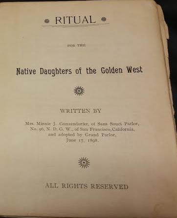 1Ritual book for NDGW written by Mrs. Minnie J Gunzendorfer of San Souci Parlor #96    6.17.1898 copy